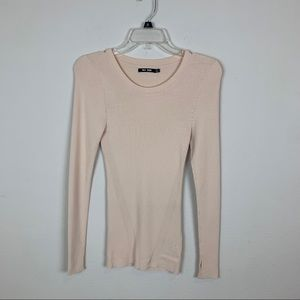 BLK DNM Long Sleeve Ribbed Pink Top Size S